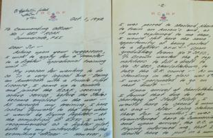 Letter– Pages 1 and 2 of letter written by Park in October 1942, LAC, Ottawa