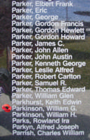 Memorial– Flight Sergeant William George Parkinson is commemorated on the Bomber Command Memorial Wall in Nanton, AB … photo courtesy of Marg Liessens