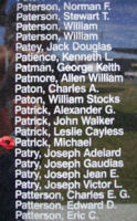 Memorial– Pilot Officer Michael Patrick is commemorated on the Bomber Command Memorial Wall in Nanton, AB … photo courtesy of Marg Liessens