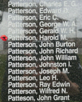Memorial– Flying Officer Harold McCosh Patterson is also commemorated on the Bomber Command Memorial Wall in Nanton, AB … photo courtesy of Marg Liessens