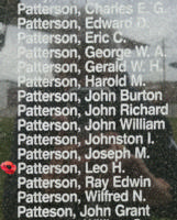 Memorial– Warrant Officer Class II Leo Harkness Patterson is also commemorated on the Bomber Command Memorial Wall in Nanton, AB … photo courtesy of Marg Liessens