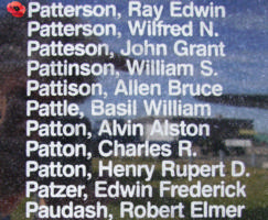 Memorial– Pilot Officer Ray Edwin Patterson is commemorated on the Bomber Command Memorial Wall in Nanton, AB … photo courtesy of Marg Liessens