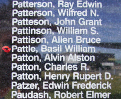 Memorial– Pilot Officer Basil William Pattle is also commemorated on the Bomber Command Memorial Wall in Nanton, AB … photo courtesy of Marg Liessens