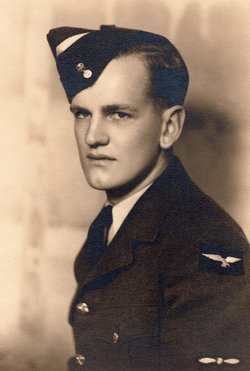 """Photo of Keith Perry– Keith Oliver Perry, Warrent Officer I, was listed as a Prisoner of War,on page 2 of the 27-April-1943 edition of the Lethbridge Herald. He was interned at Stalag Luft VI (55°21'22.00""""N / 21°31'19.00""""E), Heydekrug, East Prussia. according to The Commonwealth War Graves Commission records, Keith died 23-Aug-1943 as a POW. He was buried in an unmarked grave in the local cemetery just northerly of the camp. I read about a memorial that was established and unveiled in his honor in an article I found at http://www.rcaf-arc.forces.gc.ca/v2/nr-sp/index-eng.asp?id=3803. Unfortunately this web page is no longer available. An image of the memorial stone can be viewed at http://www.panoramio.com/photo/13683547."""