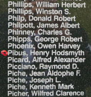Memorial– Pilot Officer Henry Hodsmyth Pibus is also commemorated on the Bomber Command Memorial Wall in Nanton, AB … photo courtesy of Marg Liessens