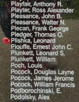 Memorial– Pilot Officer Leonard Plishka is also commemorated on the Bomber Command Memorial Wall in Nanton, AB … photo courtesy of Marg Liessens