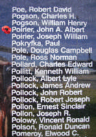 Memorial– Pilot Officer John Augustin Albert Poirier is commemorated on the Bomber Command Memorial Wall in Nanton, AB … photo courtesy of Marg Liessens