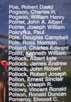 Memorial– Sergeant James Andrew Pollock is commemorated on the Bomber Command Memorial Wall in Nanton, AB … photo courtesy of Marg Liessens
