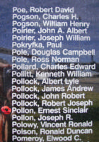 Memorial– Warrant Officer Class II Ernest Sinclair Pollon is commemorated on the Bomber Command Memorial Wall in Nanton, AB … photo courtesy of Marg Liessens
