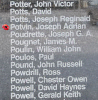 Memorial– Warrant Officer Class I Joseph Adrien Leo Potvin is commemorated on the Bomber Command Memorial Wall in Nanton, AB … photo courtesy of Marg Liessens