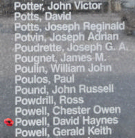 Memorial– Flight Sergeant David Haynes Barcham Powell is commemorated on the Bomber Command Memorial Wall in Nanton, AB … photo courtesy of Marg Liessens