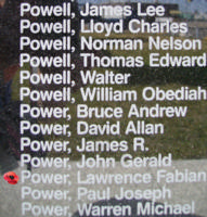 Memorial– Flight Sergeant Lawrence Fabien Power is commemorated on the Bomber Command Memorial Wall in Nanton, AB … photo courtesy of Marg Liessens