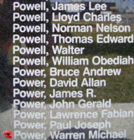 Memorial– Sergeant Warren Michael Power is commemorated on the Bomber Command Memorial Wall in Nanton, AB … photo courtesy of Marg Liessens