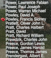 Memorial– Wing Commander Francis Sidney Powley is also commemorated on the Bomber Command Memorial Wall in Nanton, AB … photo courtesy of Marg Liessens