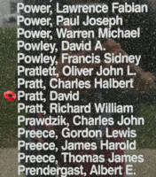 Memorial– Flying Officer David Pratt is also commemorated on the Bomber Command Memorial Wall in Nanton, AB … photo courtesy of Marg Liessens