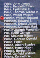 Memorial– Warrant Officer Class II William Edward Ernest Priddin is also commemorated on the Bomber Command Memorial Wall in Nanton, AB … photo courtesy of Marg Liessens