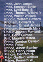 Memorial– Squadron Leader Garfield Wallace Prior is commemorated on the Bomber Command Memorial Wall in Nanton, AB … photo courtesy of Marg Liessens