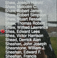 Memorial– Flying Officer Edward Lees Shea is also commemorated on the Bomber Command Memorial Wall in Nanton, AB … photo courtesy of Marg Liessens