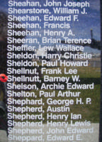 Memorial– Sergeant Barney Walker Shelnutt as commemorated on the Bomber Command Memorial Wall in Nanton, AB … photo courtesy of Marg Liessens