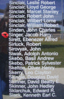 Memorial– Pilot Officer Jacob Harry Singer is commemorated on the Bomber Command Memorial Wall in Nanton, AB … photo courtesy of Marg Liessens