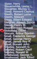 Memorial– Flight Sergeant David Slabotsky as commemorated on the Bomber Command Memorial Wall in Nanton, AB … photo courtesy of Marg Liessens