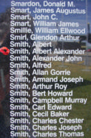 Memorial– Flight Sergeant Albert Alexander Smith is commemorated on the Bomber Command Memorial Wall in Nanton, AB … photo courtesy of Marg Liessens