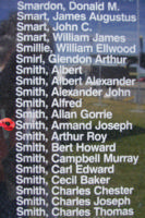 Memorial– Flight Sergeant Armand Joseph Marcel Smith is commemorated on the Bomber Command Memorial Wall in Nanton, AB … photo courtesy of Marg Liessens