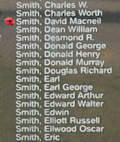 Memorial– Sergeant David MacNeil Smith is also commemorated on the Bomber Command Memorial Wall in Nanton, AB … photo courtesy of Marg Liessens