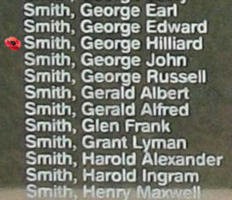 Memorial– Warrant Officer Class I George Hilliard Smith is commemorated on the Bomber Command Memorial Wall in Nanton, AB … photo courtesy of Marg Liessens