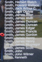 Memorial– Sergeant James Gordon Smith is commemorated on the Bomber Command Memorial Wall in Nanton, AB … photo courtesy of Marg Liessens