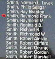 Memorial– Flight Sergeant Raymond Frank Smith is commemorated on the Bomber Command Memorial Wall in Nanton, AB … photo courtesy of Marg Liessens