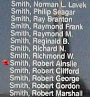 Memorial– Flight Sergeant Robert Ainslie Smith is commemorated on the Bomber Command Memorial Wall in Nanton, AB … photo courtesy of Marg Liessens