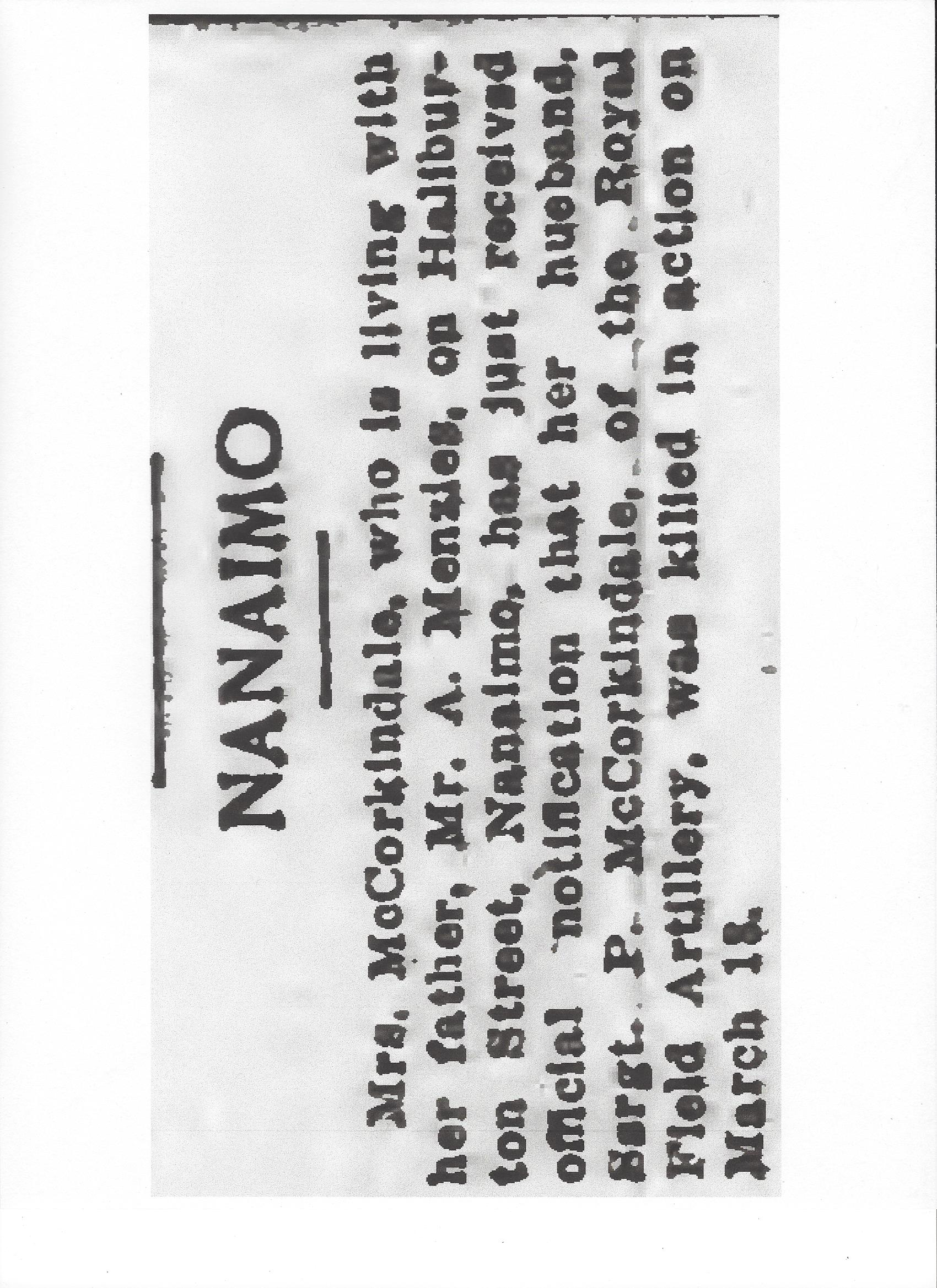 Newspaper clipping– From the Daily Colonist of April 1, 1917. Image taken from web address of http://archive.org/stream/dailycolonist59y96uvic#page/n0/mode/1up