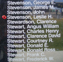 Memorial– Flight Sergeant Leslie Howard Stevenson is commemorated on the Bomber Command Memorial Wall in Nanton, AB … photo courtesy of Marg Liessens