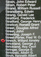 Memorial– Pilot Officer Willard Ainsley Streich is commemorated on the Bomber Command Memorial Wall in Nanton, AB … photo courtesy of Marg Liessens