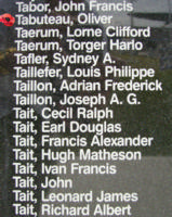 Memorial– Sergeant Oliver Tabuteau is also commemorated on the Bomber Command Memorial Wall in Nanton, AB … photo courtesy of Marg Liessens