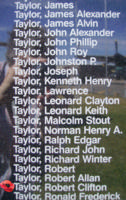 Memorial– Flying Officer Robert Clifton Taylor is commemorated on the Bomber Command Memorial Wall in Nanton, AB … photo courtesy of Marg Liessens