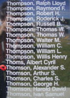 Memorial– Pilot Officer Alexander Sinclair Thomson is commemorated on the Bomber Command Memorial Wall in Nanton, AB … photo courtesy of Marg Liessens