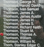 Memorial– Pilot Officer Thomas Allan Thomson is also commemorated on the Bomber Command Memorial Wall in Nanton, AB … photo courtesy of Marg Liessens
