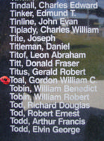 Memorial– Warrant Officer Class II Gordon William Chester Toal is commemorated on the Bomber Command Memorial Wall in Nanton, AB … photo courtesy of Marg Liessens
