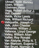Memorial– Flight Sergeant Joseph Claude Valiquette is also commemorated on the Bomber Command Memorial Wall in Nanton, AB … photo courtesy of Marg Liessens