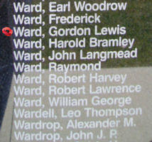 Memorial– Flight Sergeant Gordon Lewis Ward is also commemorated on the Bomber Command Memorial Wall in Nanton, AB … photo courtesy of Marg Liessens