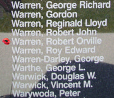 Memorial– Warrant Officer Class II Robert Orville Orson Warren is also commemorated on the Bomber Command Memorial Wall in Nanton, AB … photo courtesy of Marg Liessens