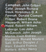 Memorial– Flight Sergeant Ronald William Hood as commemorated on the Bomber Command Memorial Wall in Nanton, AB … photo courtesy of Marg Liessens
