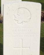 Grave Marker– Grave Marker in Mazingarbe; flags placed by Martin & Cathy Scott
