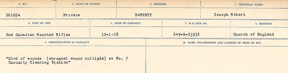 Circumstances of Death– Source: Library and Archives Canada.  CIRCUMSTANCES OF DEATH REGISTERS, FIRST WORLD WAR Surnames:  Bark to Bazinet. Mircoform Sequence 6; Volume Number 31829_B016716. Reference RG150, 1992-93/314, 150.  Page 445 of 1058.