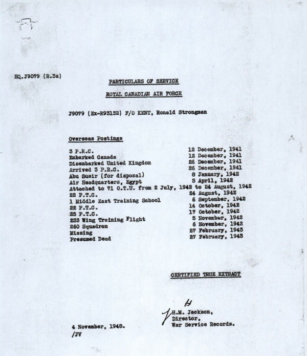 Excerpt from service file