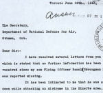 Letter– A letter from Ron's mother asking for information about his death.  Taken from his service file in Ottawa.  Source:Whitehouse via Library & Archives Canada