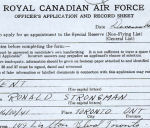 RCAF Officer's Application– Ron Kent's application to join the RCAF pg 1. (Picture enchanced)  Source:Whitehouse via Library & Archives Canada