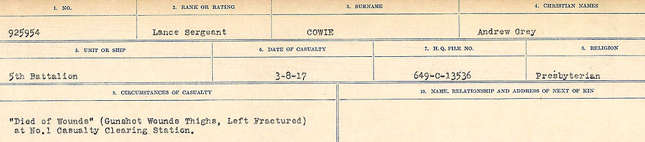 Circumstances of Death Registers– Source: Library and Archives Canada.  CIRCUMSTANCES OF DEATH REGISTERS, FIRST WORLD WAR Surnames:  CORBI to COZNI.  Microform Sequence 23; Volume Number 31829_B016732. Reference RG150, 1992-93/314, 167.  Page 713 of 900.